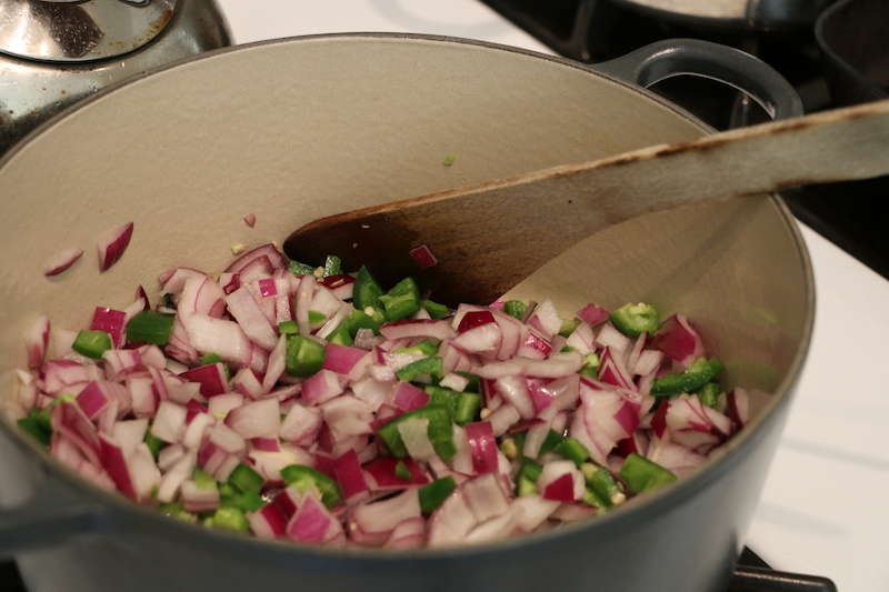 fry the onion and chillies